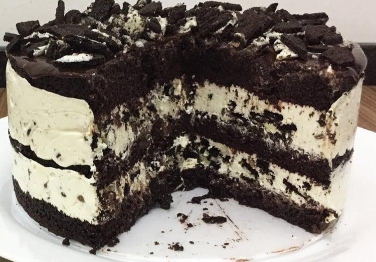 receita de bolo de Oreo