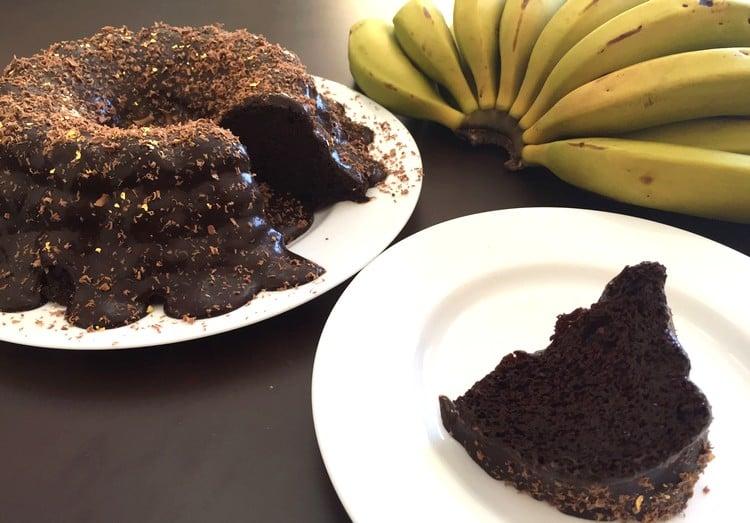 bolo com biomassa de banana verde